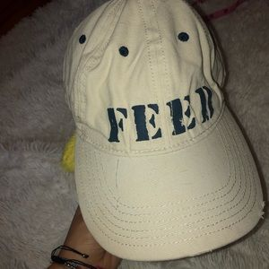 FEED distressed cream and navy cap